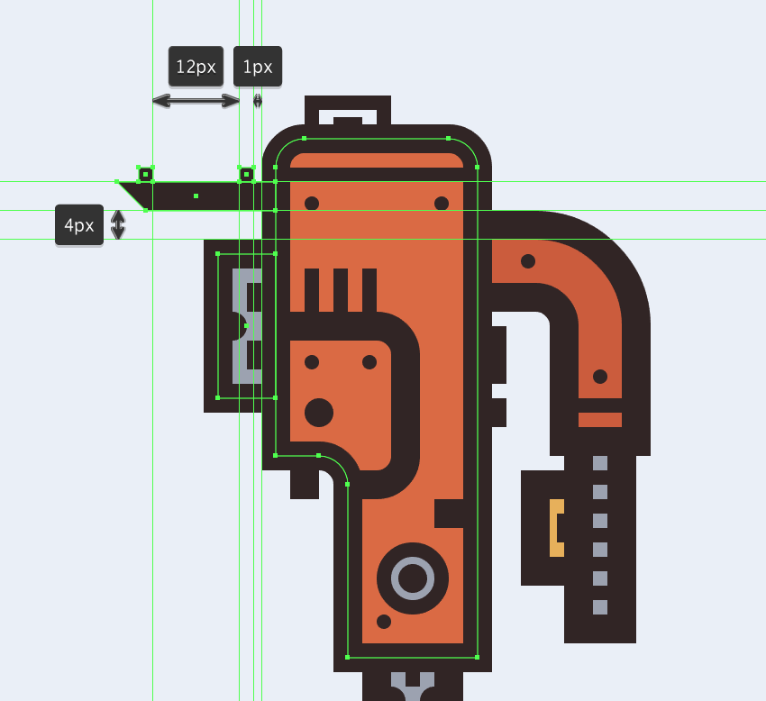 creating and positioning the main shapes for the electric saws blade