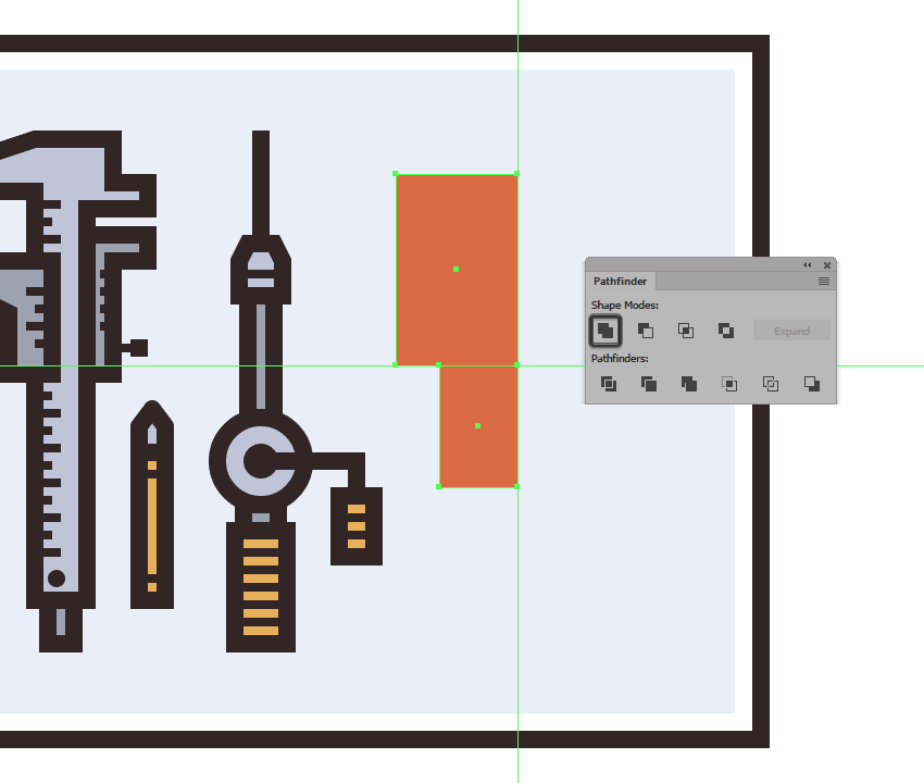creating and positioning the smaller rectangle for the electric saws main body