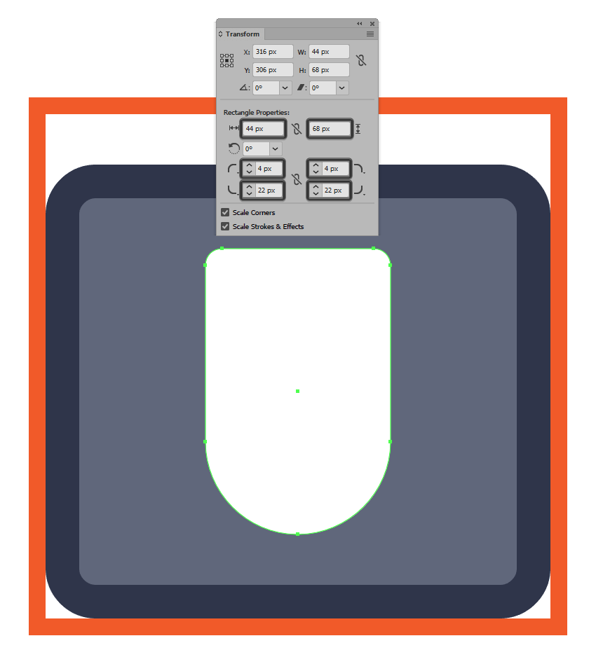 adjusting the corner radius of the mouse icons main shape