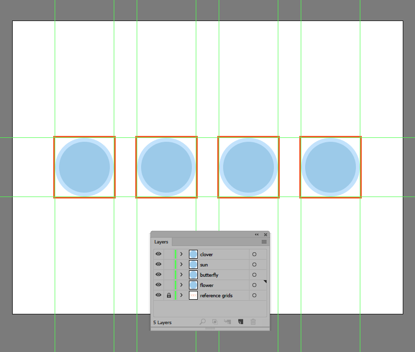 creating and positioning the repeating background onto the remaining reference grids