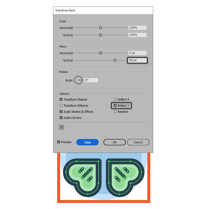 creating the clover icons bottom leaves using the transform each function