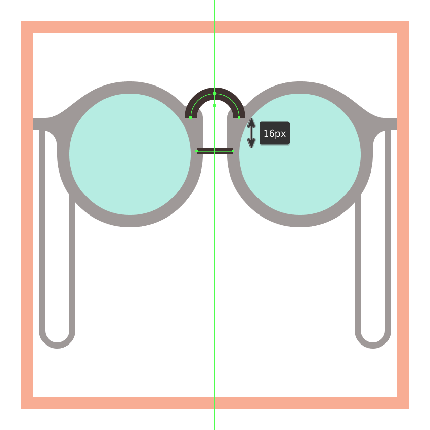 adding the center string section to the glasses