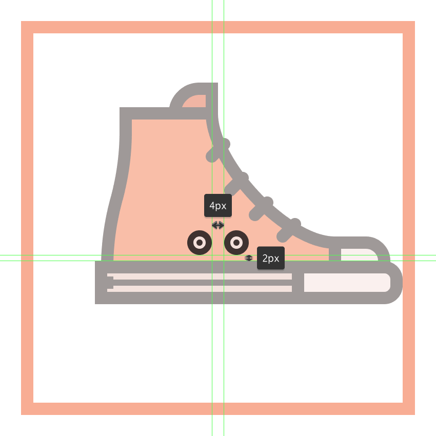 adding the right eyelet to the front shoes main body