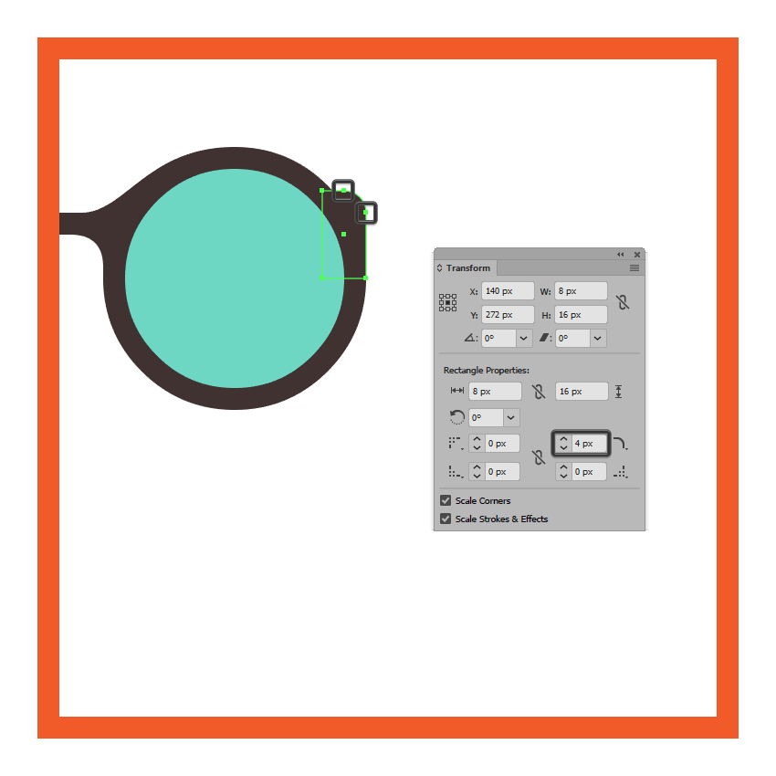 adjusting the shape of the glasses left inner section