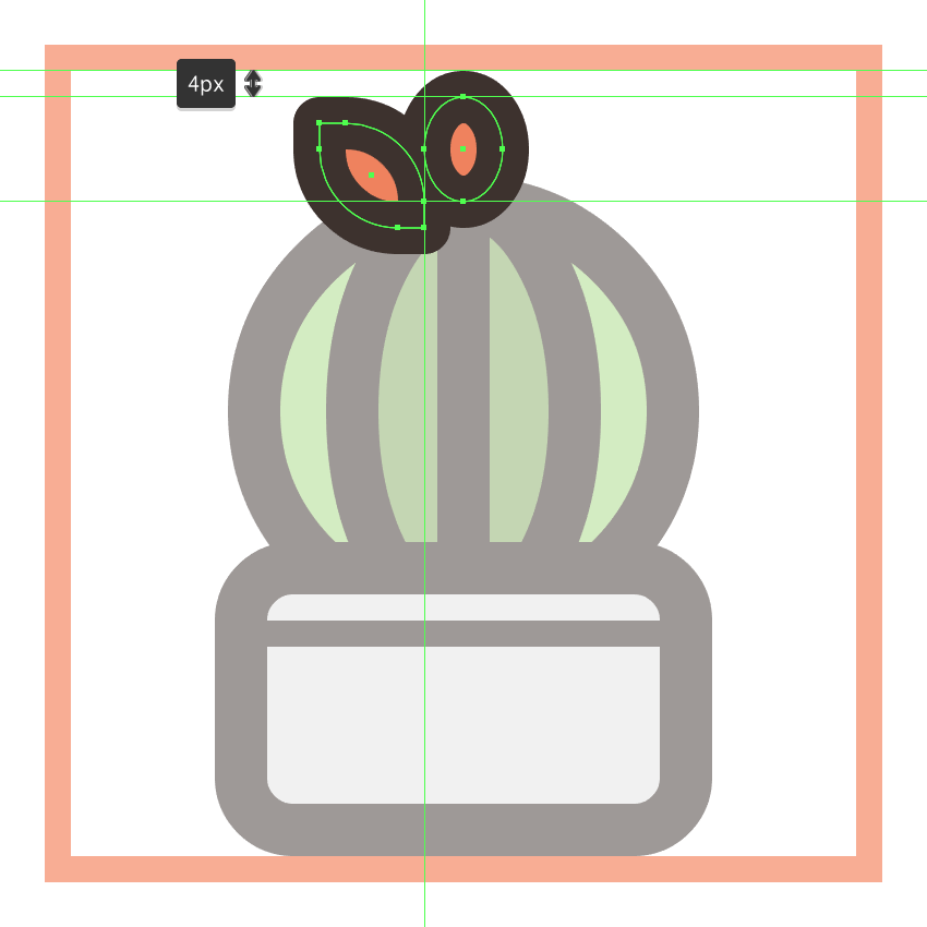 adding the left petal to the second cactus icons flower