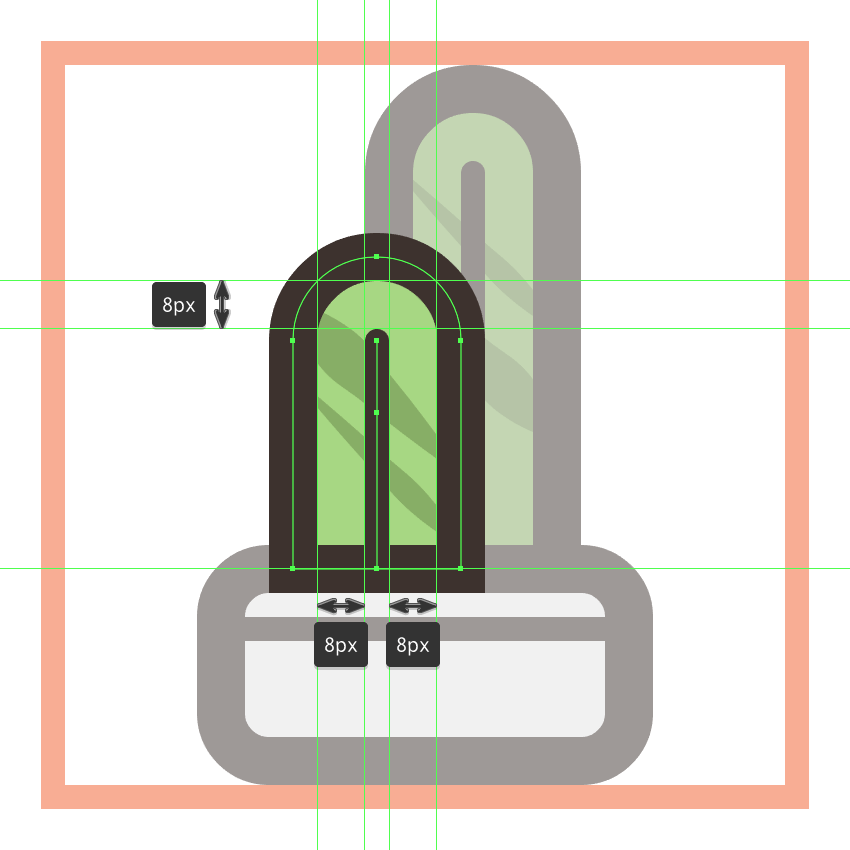 adding the outline and vertical detail line to the first cactus icons left plant