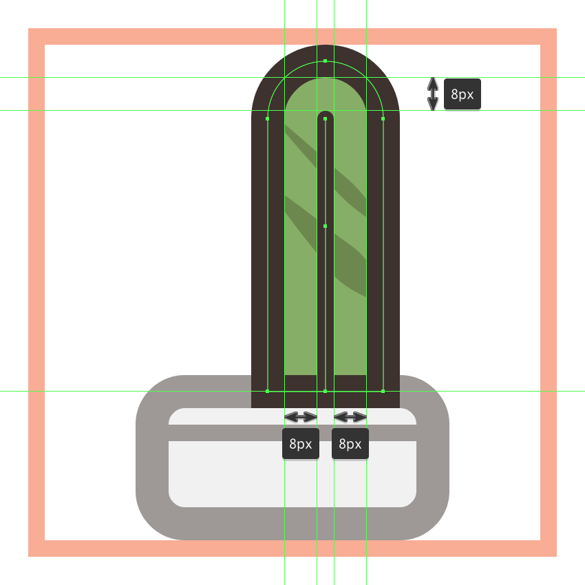 adding the vertical detail line to the first cactus icons right plant