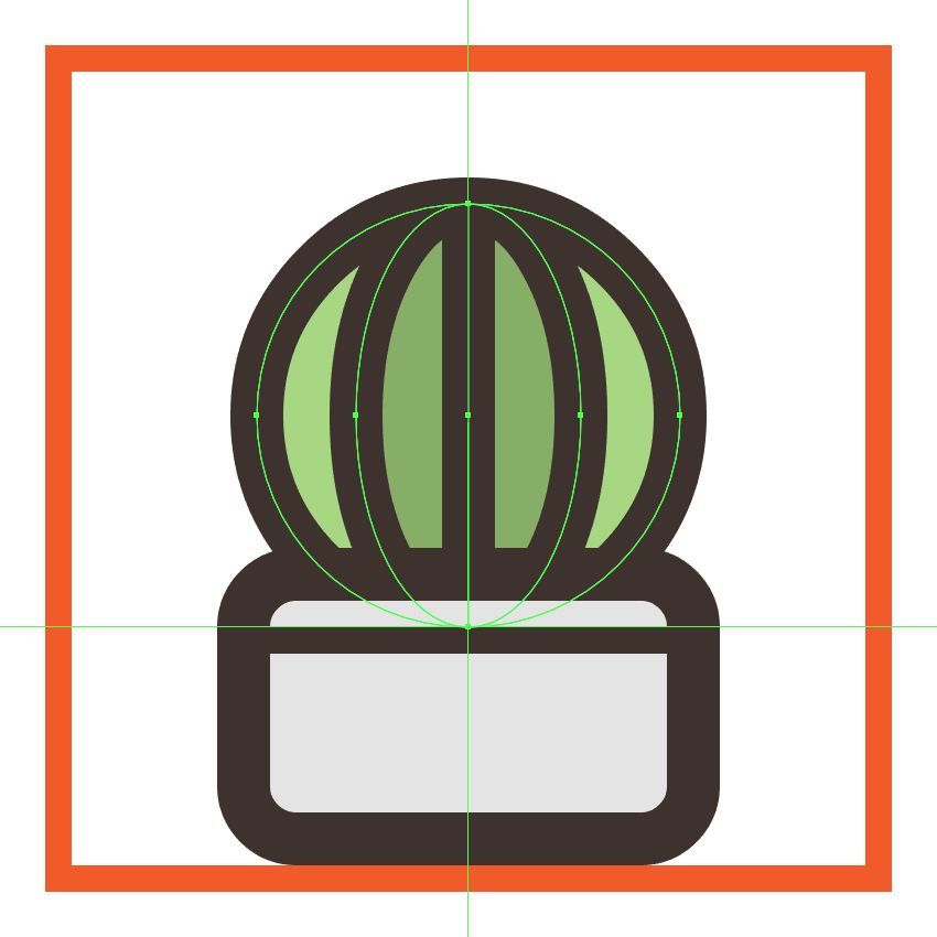 positioning the second cactus icons plant behind its ceramic pot