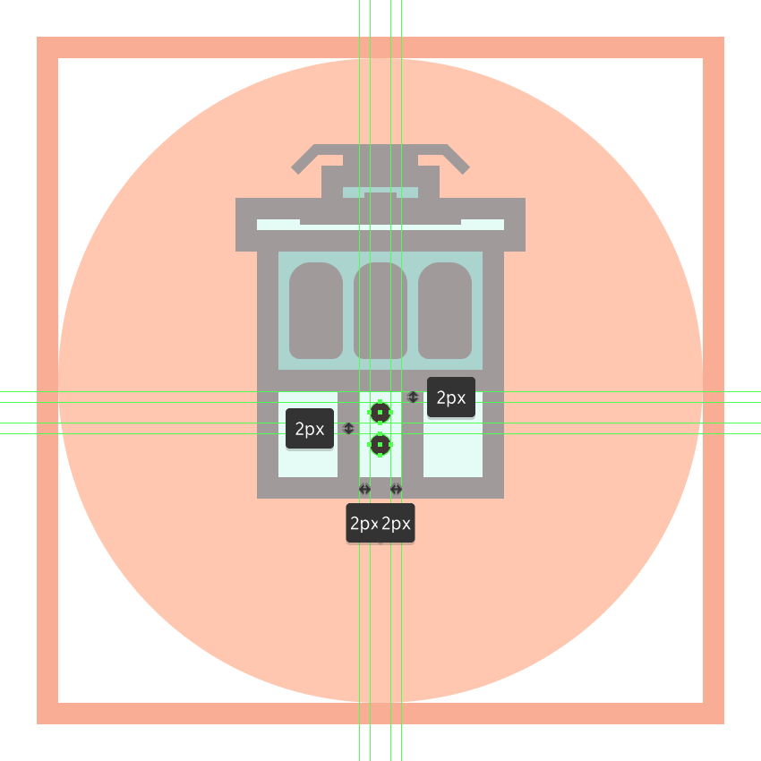 adding the center circular lights to the trams bottom section