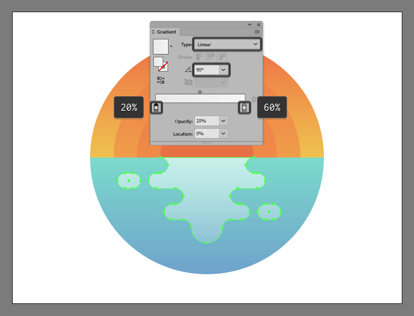 adding the gradient to the illustrations outer water reflection