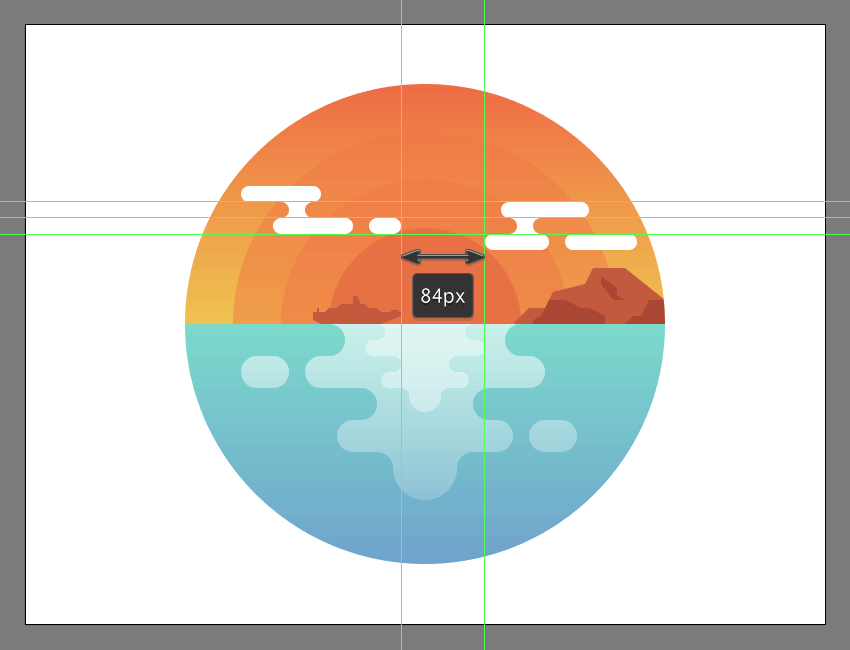 adding the second cloud group tot he illustrations background