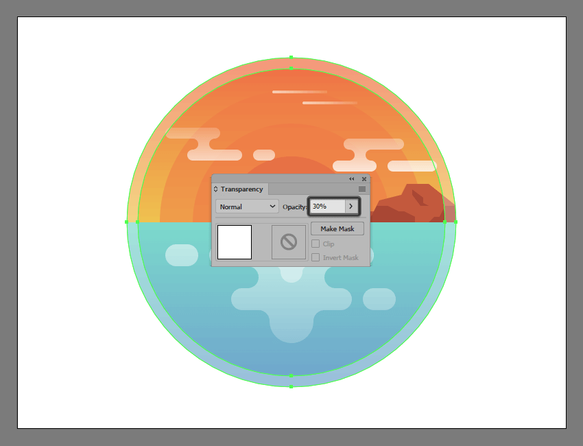 adjusting the opacity of the illustrations circular highlight