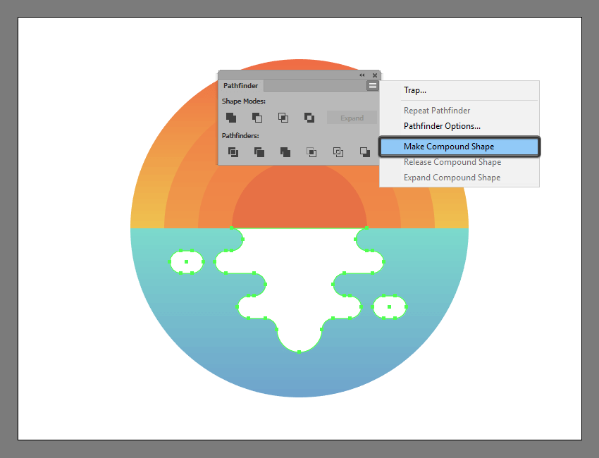turning the illustrations outer water reflection into a compound shape
