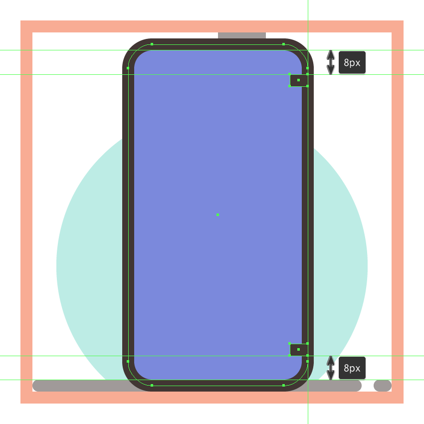 adding the antenna lines to the third phones side section