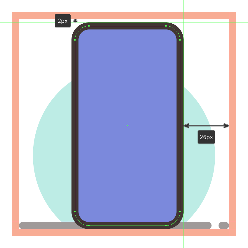 creating and positioning the main shapes for the third phones side section
