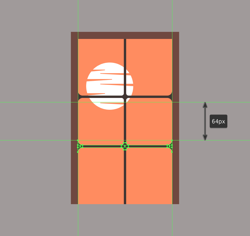 creating and positioning the main shapes for the windows bottom horizontal grid