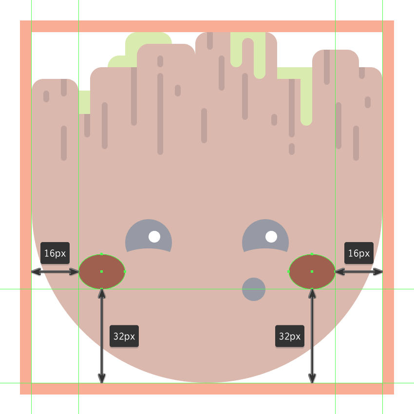 adding the blush spots to the baby groot emoji