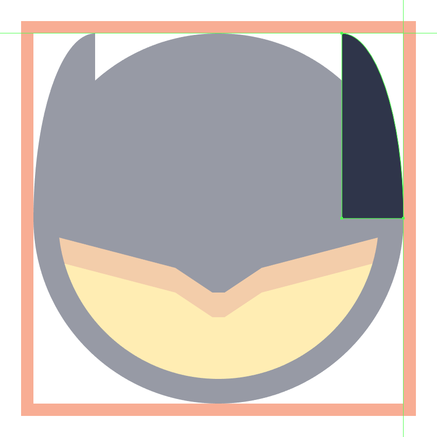 creating the right ear for the batman emoji