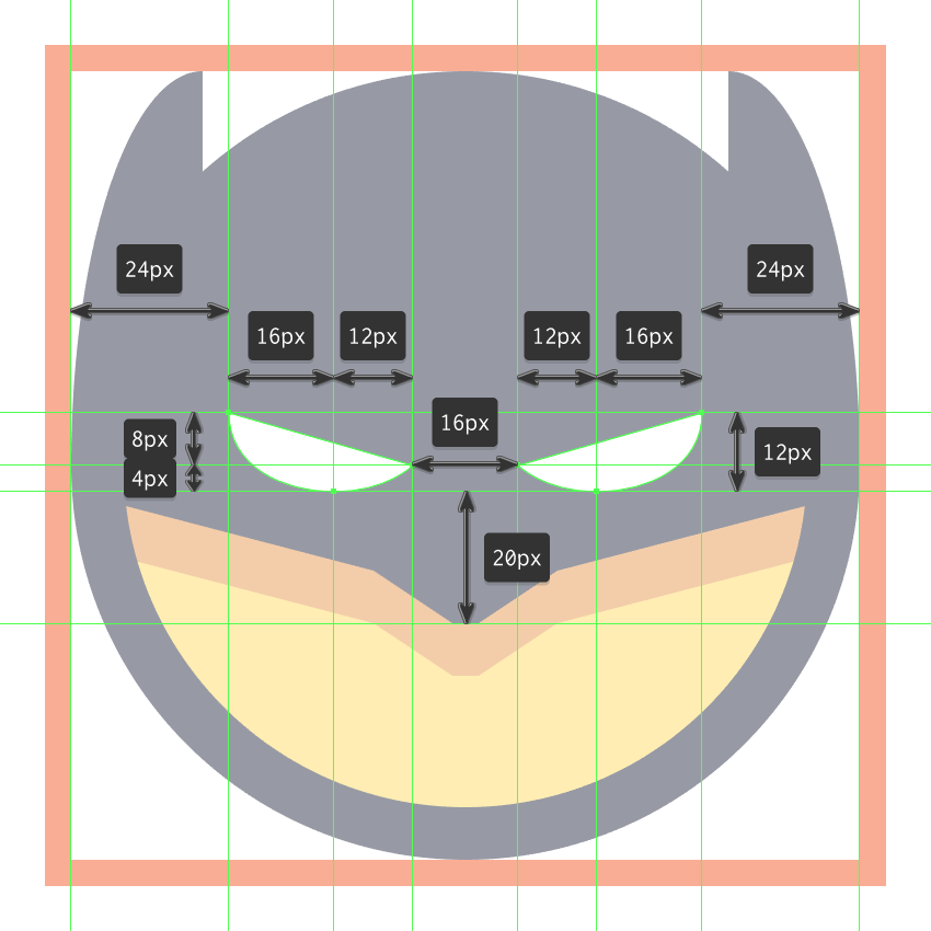 drawing the eyes for the batman emoji
