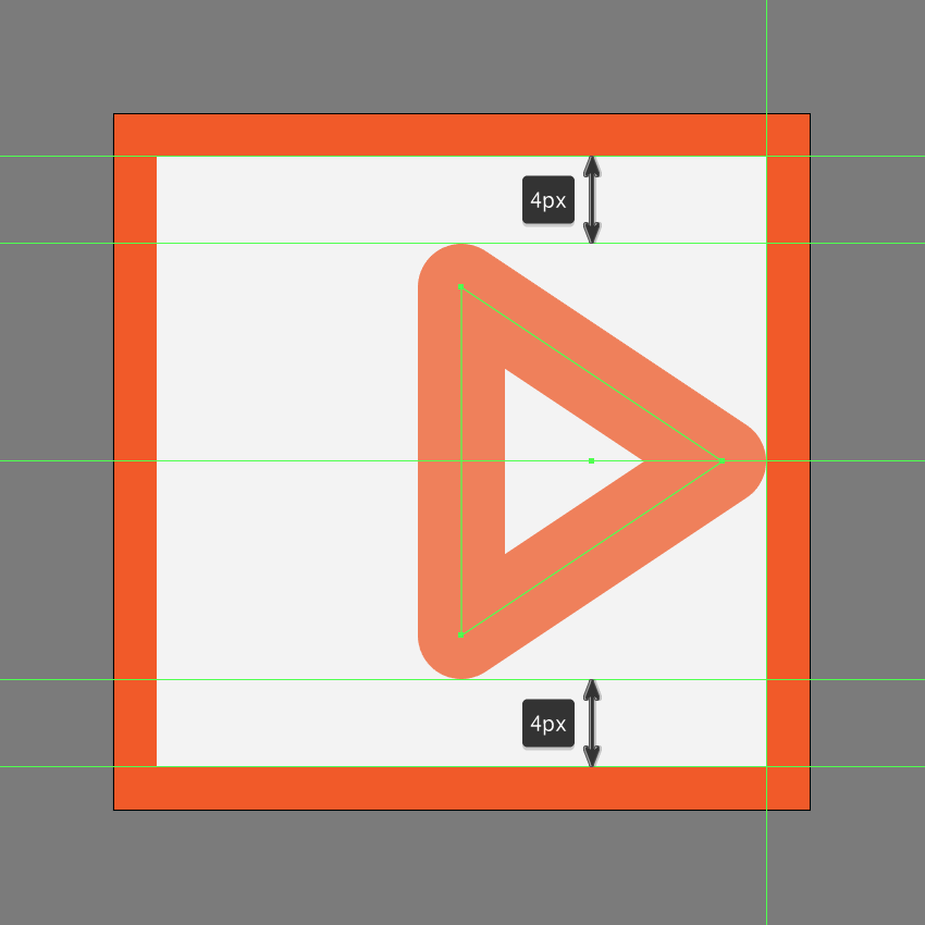 adjusting the shape of the right arrow of the fast forward button