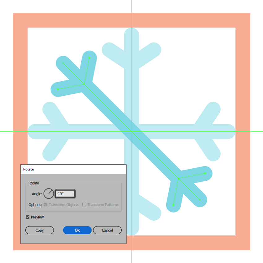 adding the left diagonal section to the first snowflake