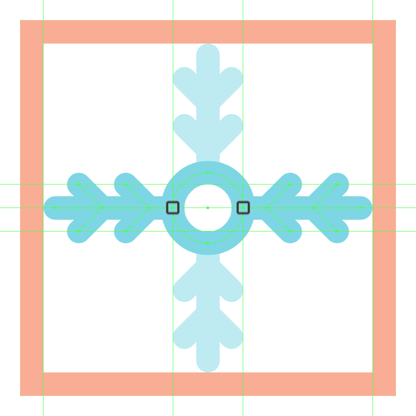 adding the horizontal section to the fourth snowflake