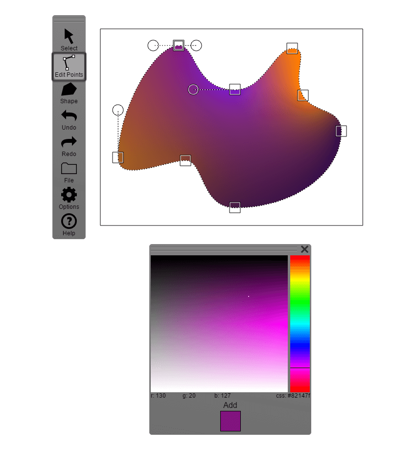 adding the gradient to the main background shape