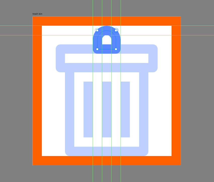 finishing off the trash bin icon