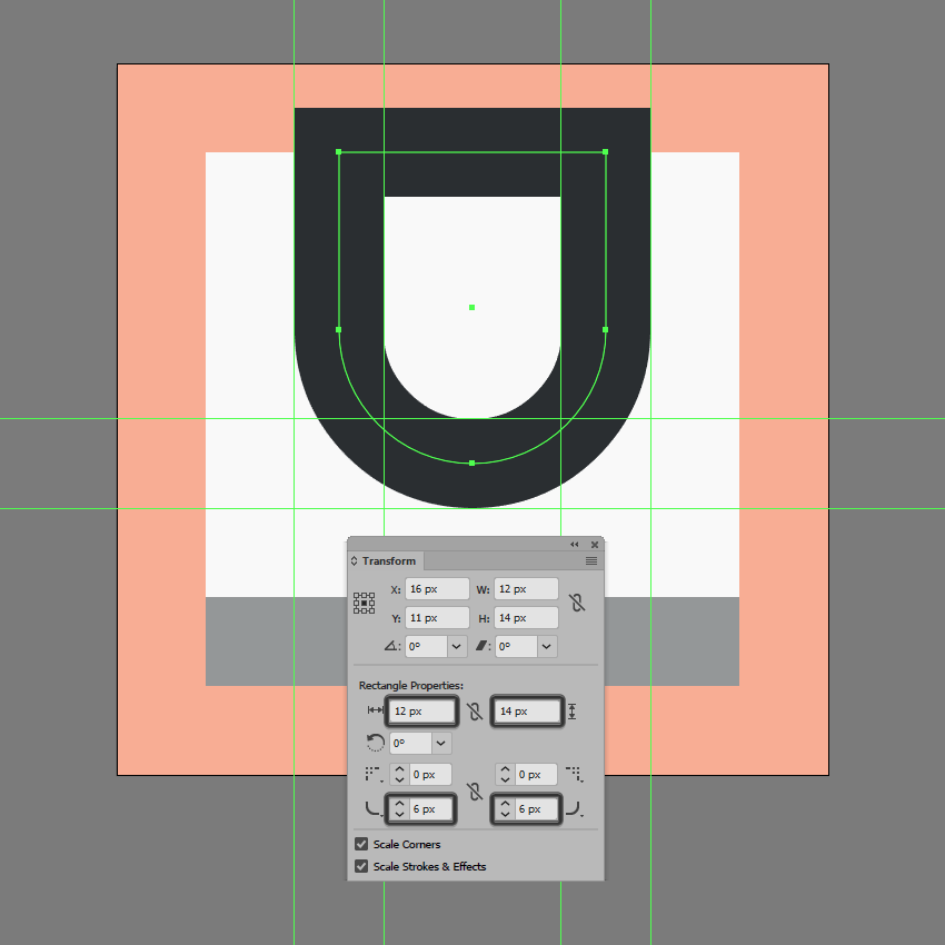 adjusting the upper shape of the underline icon
