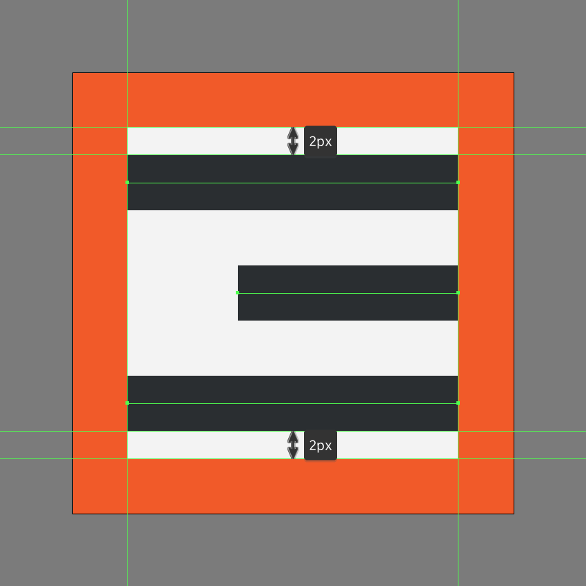 creating the main shapes for the center align icon