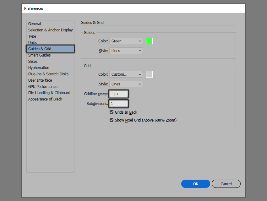 setting up a custom grid