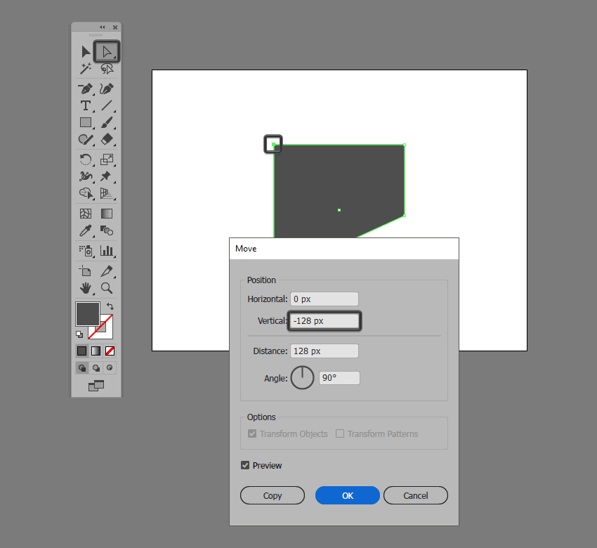 basic shape adjustment in illustrator using the move tool