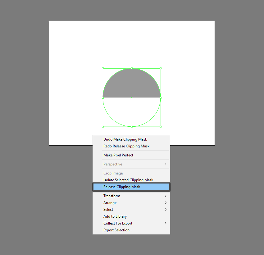 example of releasing a clipping mask in illustrator
