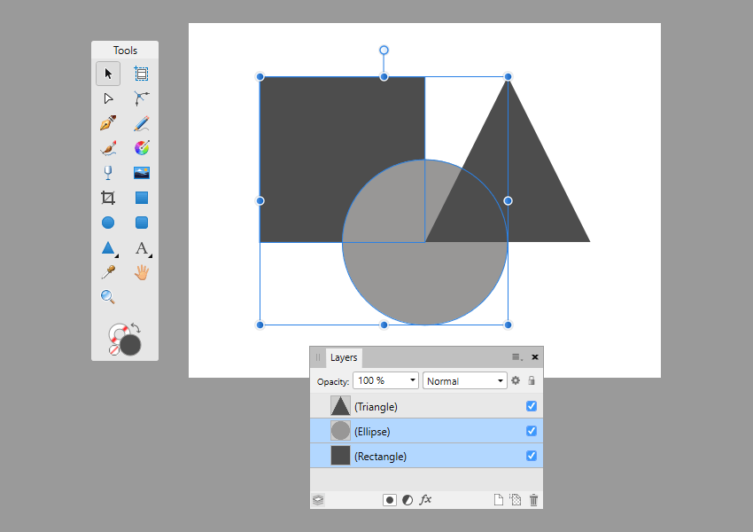 example of shape selection using the layers panel in affinity designer