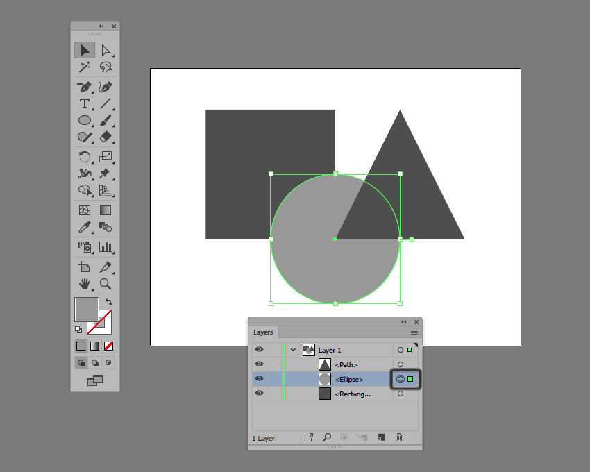 example of shape selection using the layers panel in illustrator