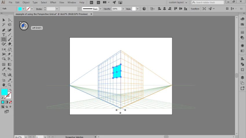 example of drawing on the perspective grid
