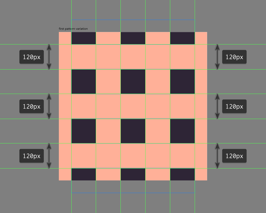 adding the remaining rows of plain squares to the first pattern