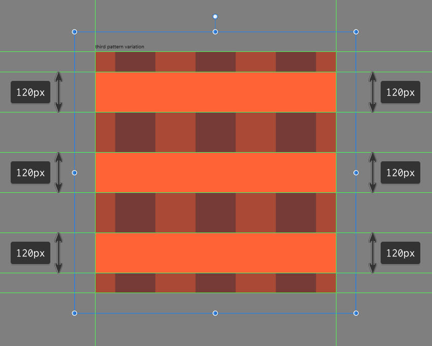 creating the rows for the third pattern