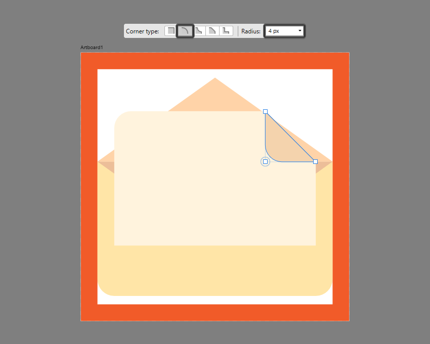 adjusting the bottom-left node of the folded corner