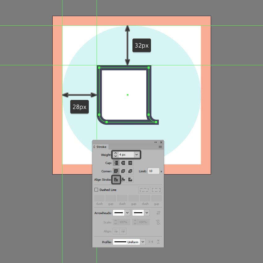 adding the outline to the front section in ai