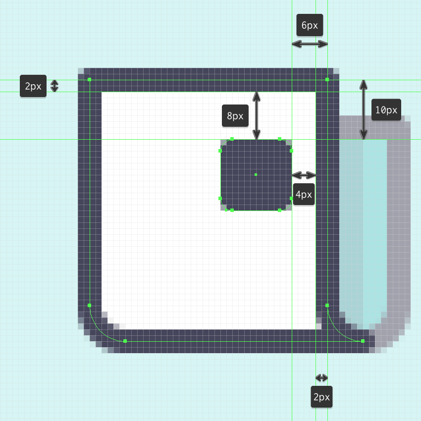 example of positioning shapes inside an outline in ai