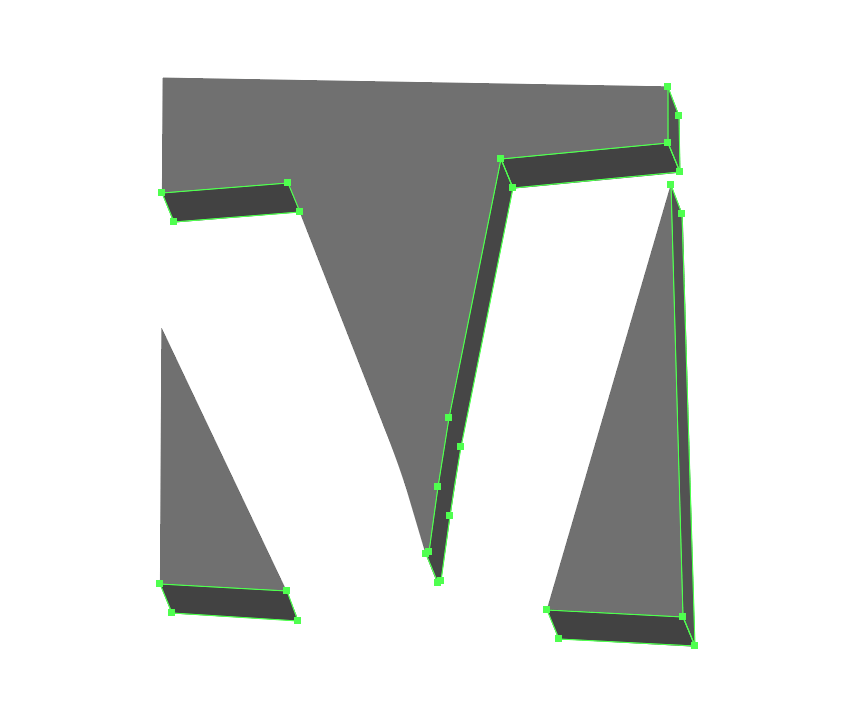 selecting and grouping the darker shapes of the first letter