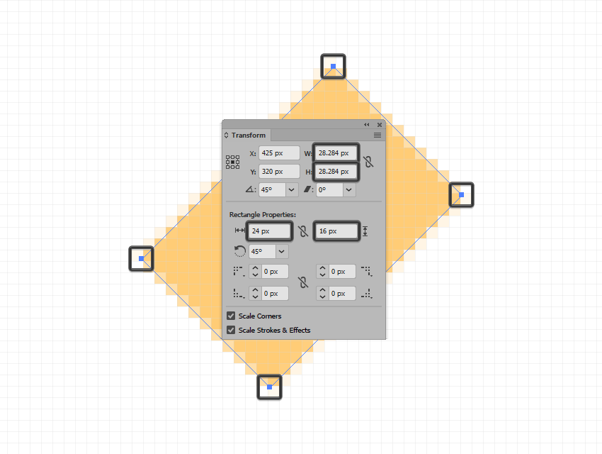 example of shape snapping off the pixel grid after being rotated