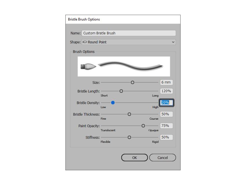 adjusting the density of the bristle brush