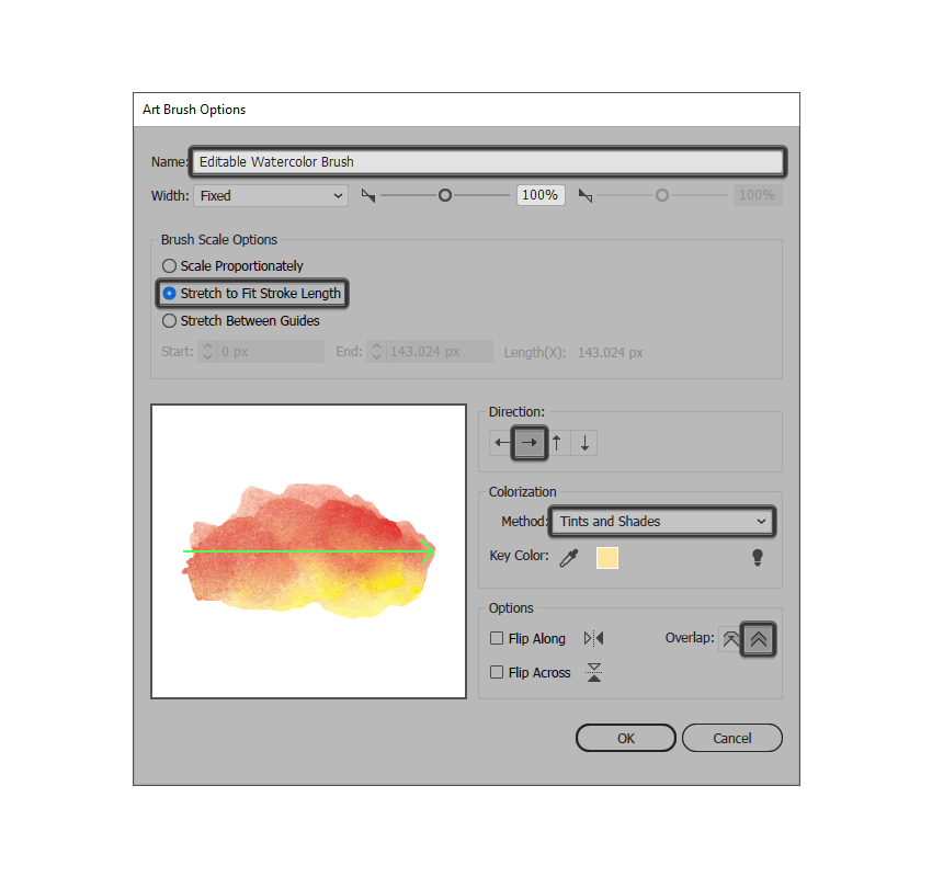 adjusting the settings for the traced image brush