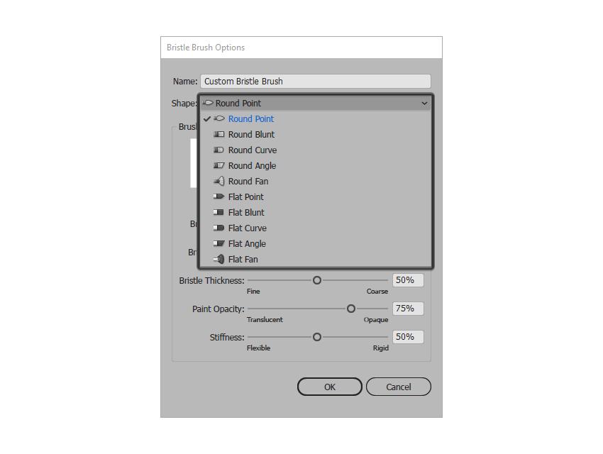 example of choosing a brush shape