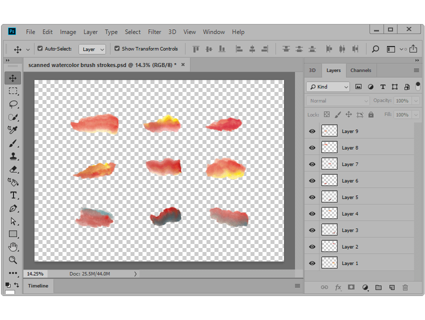 example of isolating the drawn brush strokes