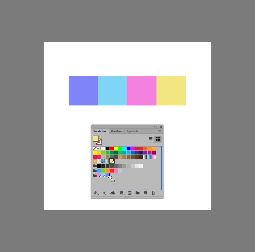 example of adding a new swatch to an existing color group