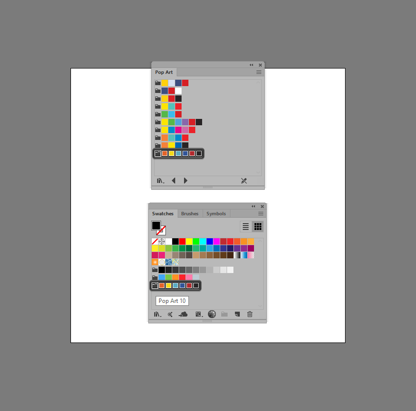 example of adding a swatch library to the swatch panel