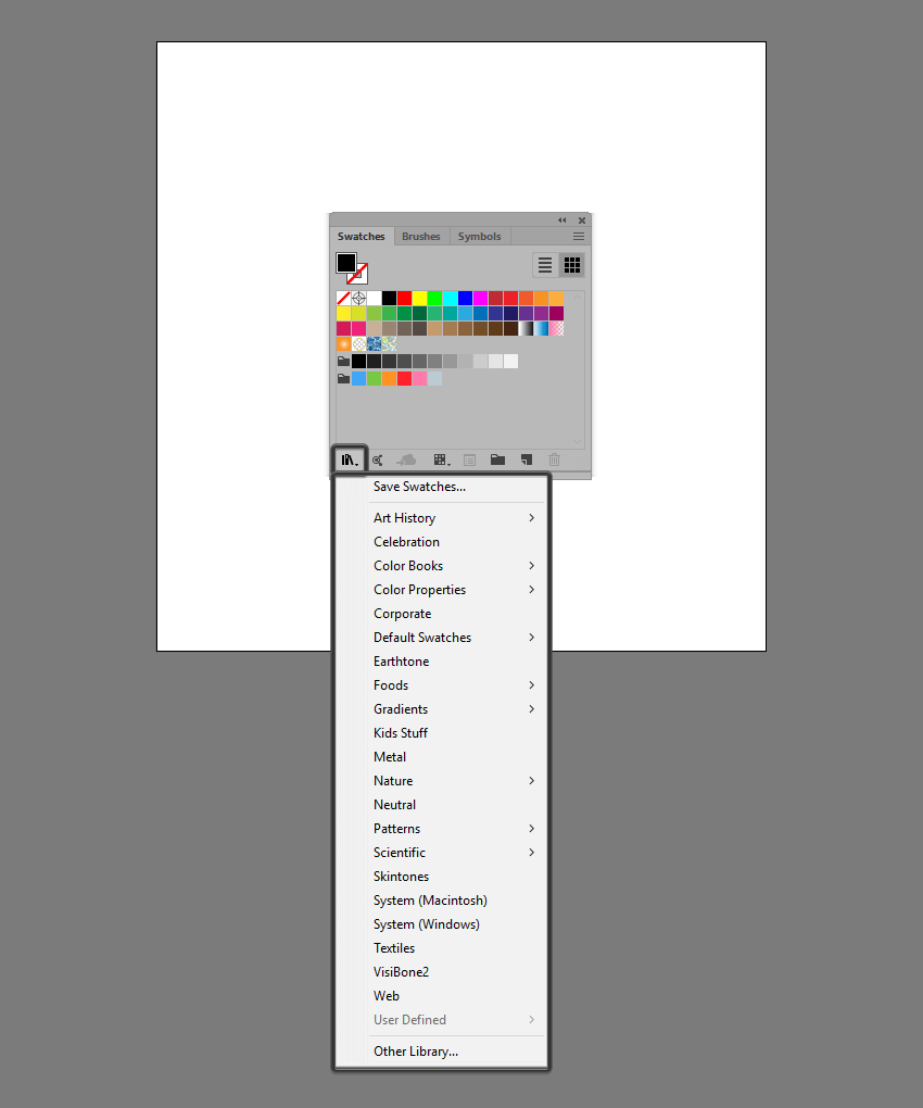 example of locating the advanced swatch libraries